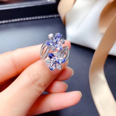 Fashional factory direct sales 925 silver jewelry inlaid natural tanzanite female rings