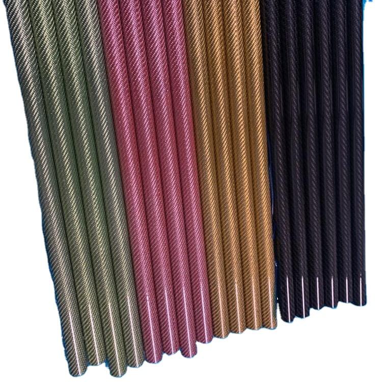 色真 3 3k カーボンファイバーチューブ高複合硬度スムーズ表面青、赤、グリーンゴールドの長さ 500 ミリメートル