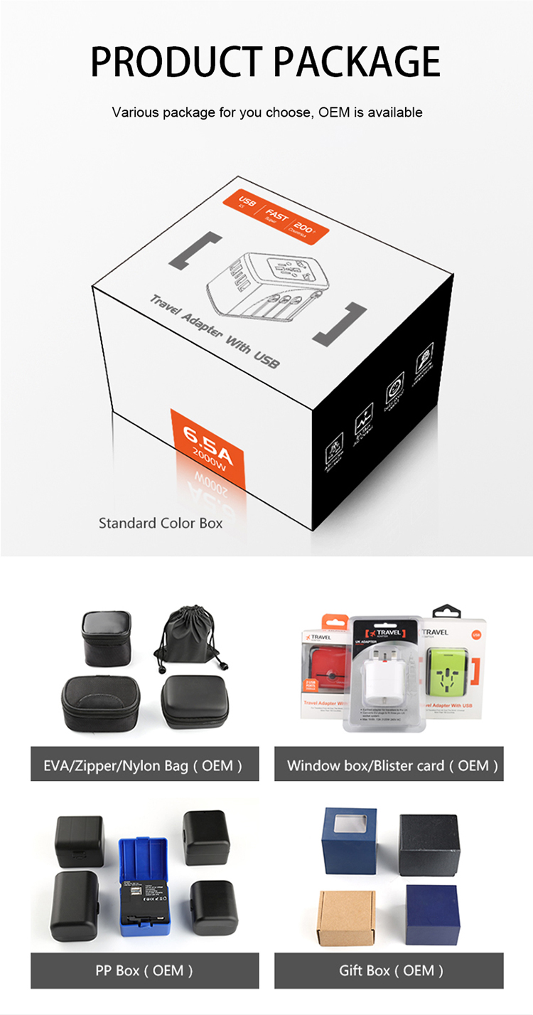 2019 Latest 45W PD travel adapter Charger otravel SL-200PD 2000W 6.5A super power worldwide all in one plug & socket