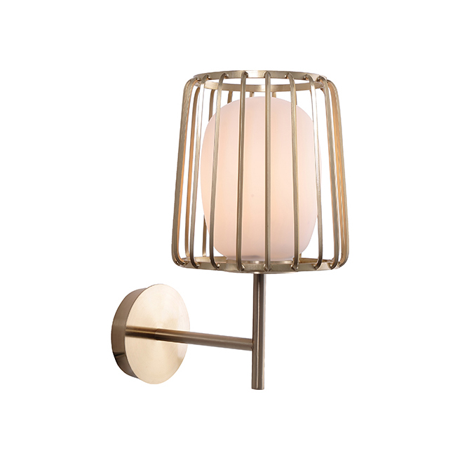Nordic Simple Design Single Light Frosted Blown Glass Metal Bathroom Wall Light