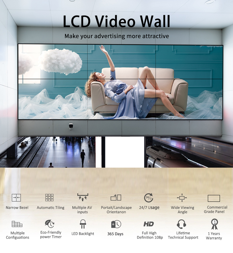 Full Hd 4 k Perfeita TV 1920 1080 2x2 Video Wall Interior Com Controlador