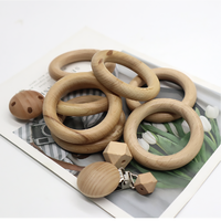 100% Food Grade Natural Organic DIY Teething Toy baby Wooden Teether Ring