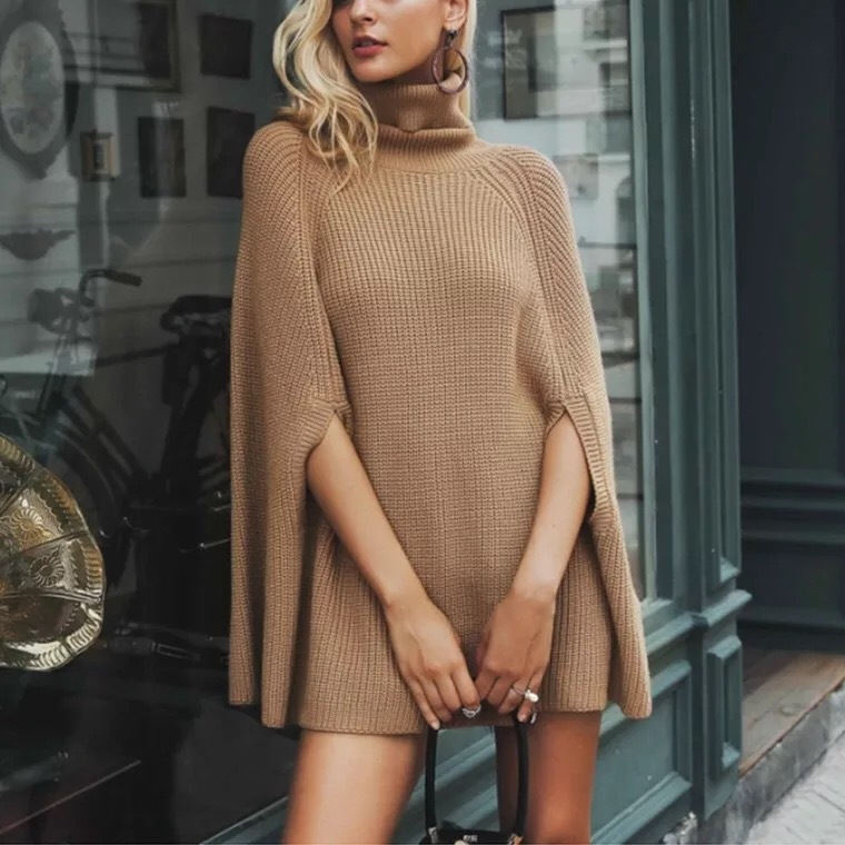 Groothandel Vrouwen Winter Knit Oversized Plaid Rib Coltrui Poncho Trui Patronen Gehaakte Poncho Voor Vrouwen Trui