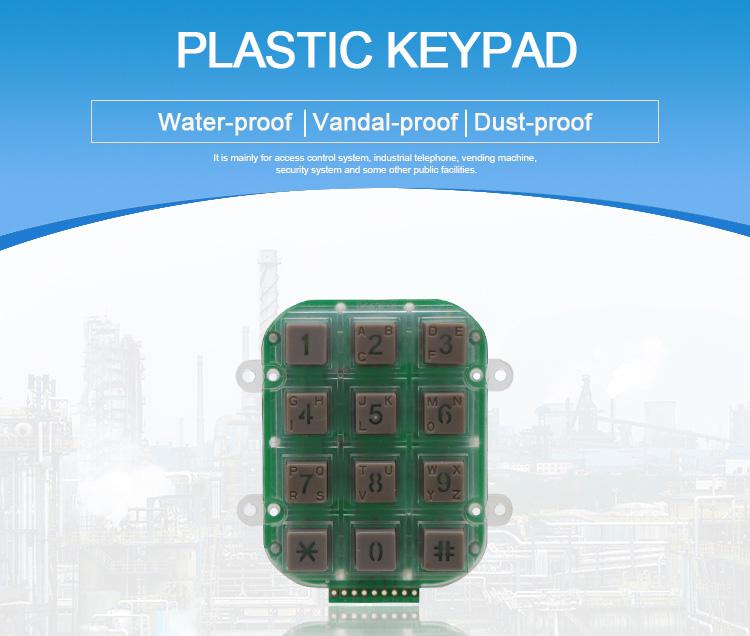 Illuminated 3x4 matrix keypad/numeric led plastic keypad/12 keys waterproof keypad