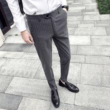 Мужские классические брюки в полоску, деловой костюм, брюки для повседневной носки, облегающие, для свадьбы, формальный клетчатый костюм, бр...(Китай)