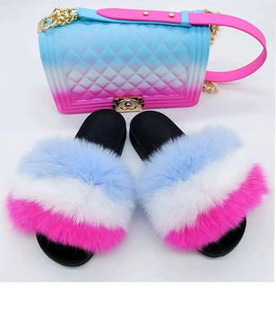 Wholesale Faux Fox Fluffy Furry Fur Slide For Ladies, Handbag Fashion Colourful Rubber Sandals Shoe Set Slipper