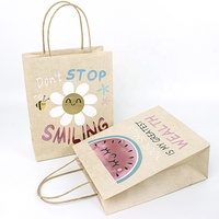 Custom Your Own Logo Shopping Packaging Glitter Kraft Brown Paper Small Quantity Mini Christmas Gift Bags with Handles