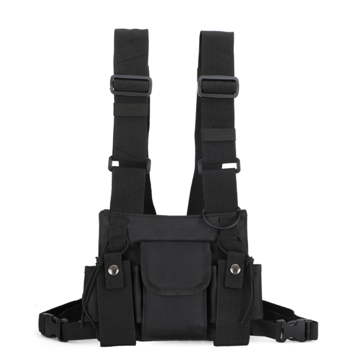 Heavy Duty Universal Outdoor Hands Free Radio Chest Rig Harness Pouch Holster for Walkie Talkie