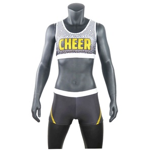 Women Sportswear Dance Laser Bra Breathable Custom Design Glitter Material Rhinestone Youth Girls Cheer Uniforms