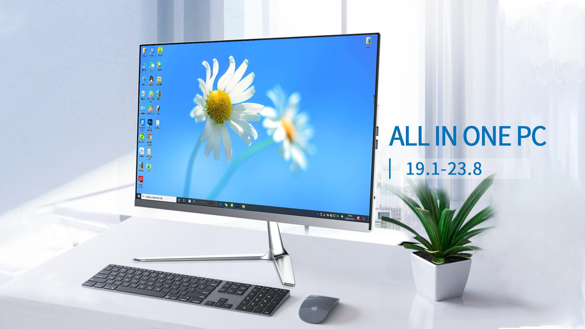 Youyou 22/24インチモニターデスクトップコンピューター16g ramメモリddr4 480 gb ssd hdd aio pc