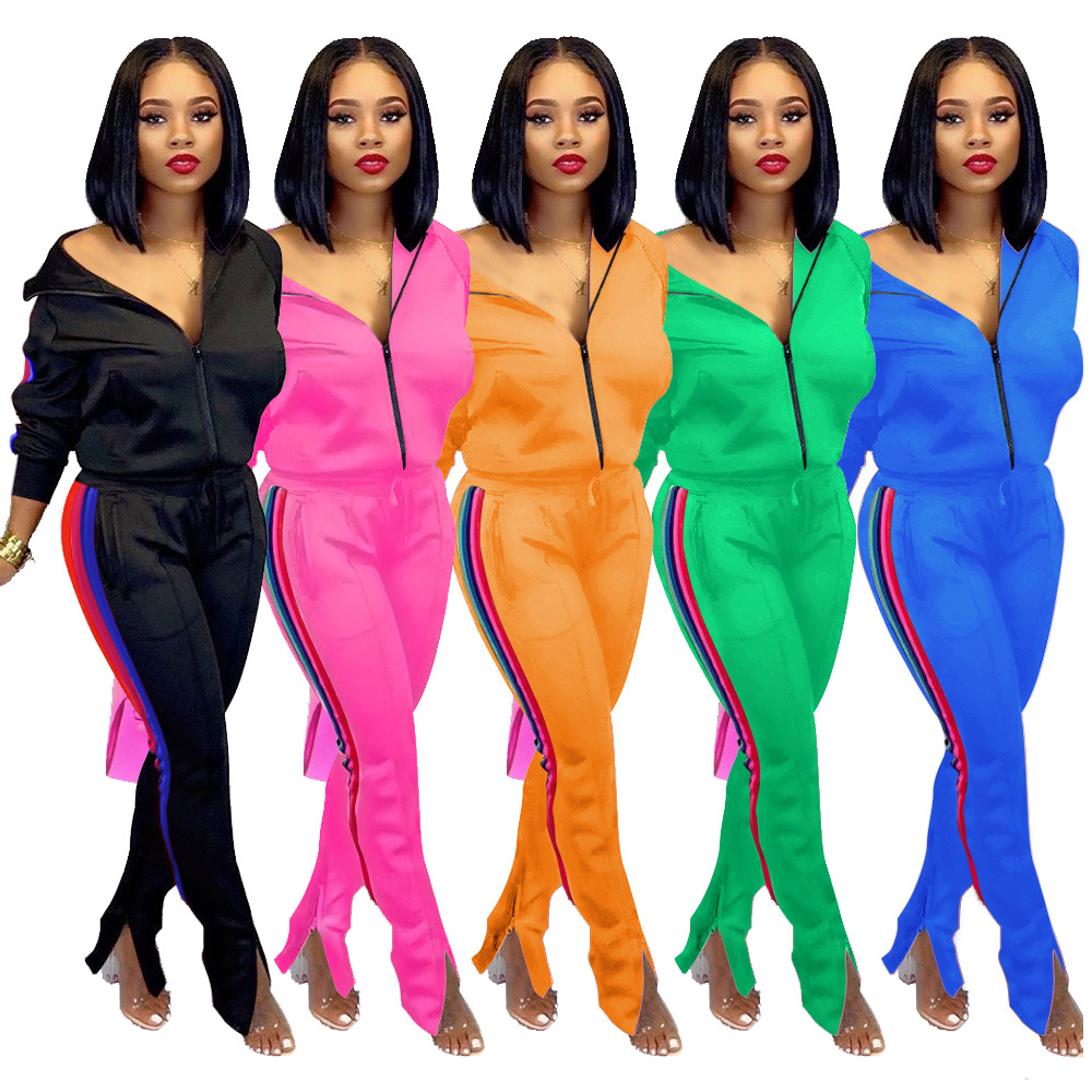 2020 New Fashion 2 Piece Set Women Sportswear Tracksuits Two Piece Set Women Clothing