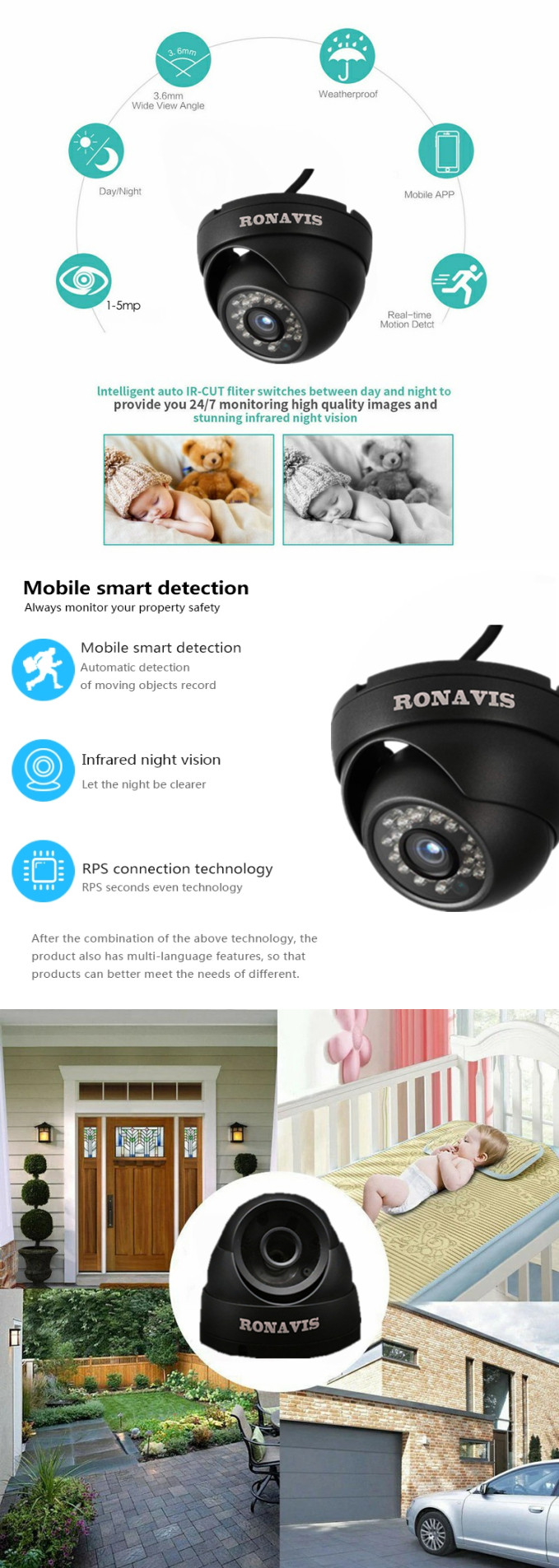 Competitive price 1080P 720P AHD CVI TVI RONAVIS 4MP HD video camera high quality cctv camera system security