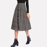 Wholesale Spring Des Plaid A Line Design Winter Lady Midi Skirt