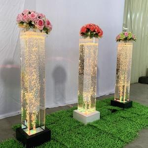 RGB led water bubble aquarium acrylic flower pillar hotel restaurant furniture