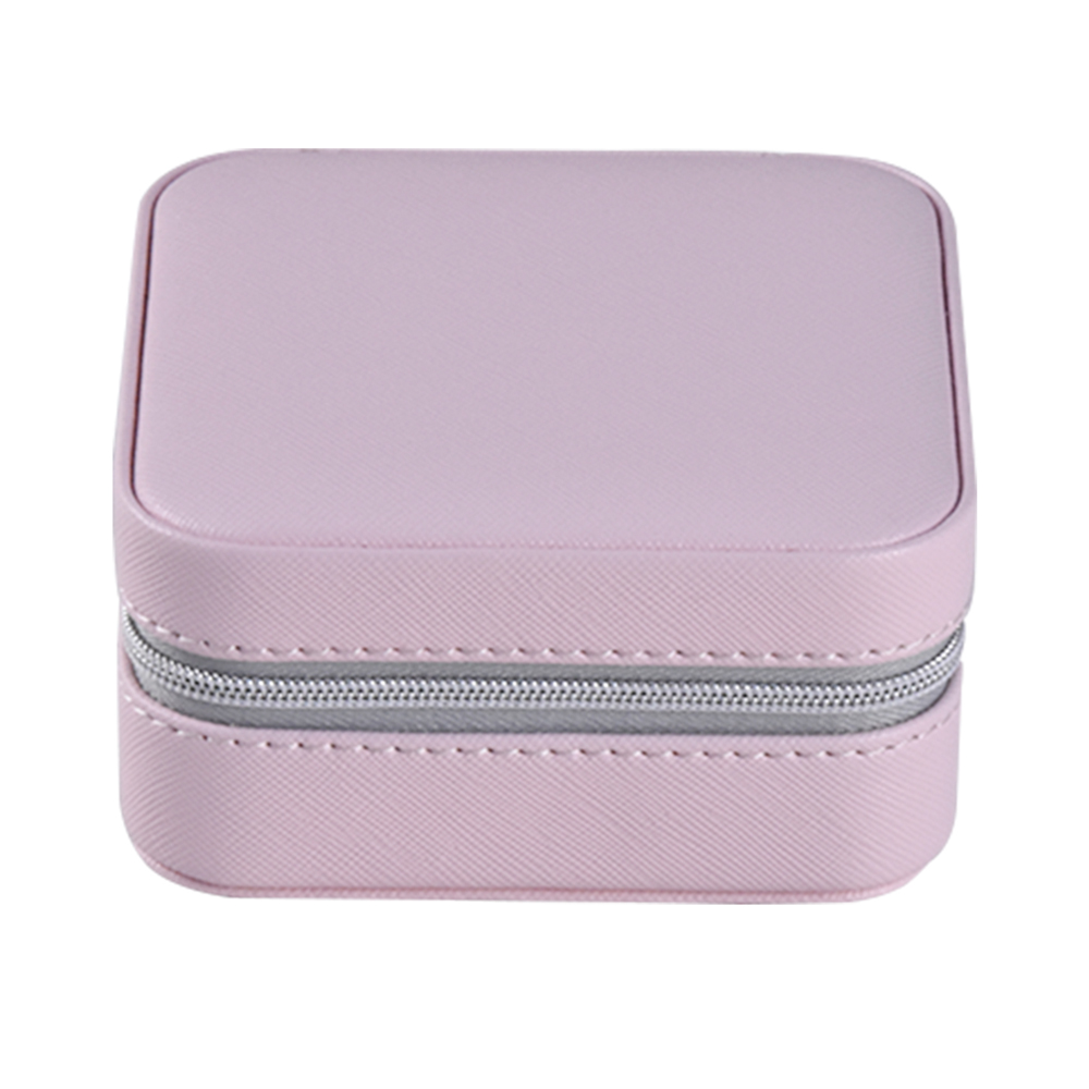Best portable custom small faux leather travel jewelry packing box organizer pink mirrored wholesale personalized