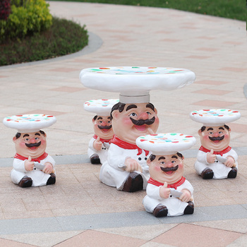 Cartoon character hand-painted chef table decoration fiberglass sculpture for mall park kindergarten outdoor garden decoration