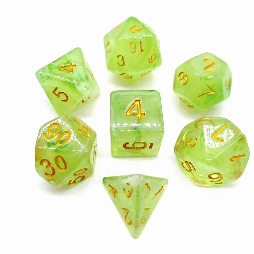 Purple Gelly 2019 Wholesale Polyhedral Acrylic In Stock RPG DND 7pcs Per Set Game Dice
