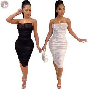 9112034 hot spaghetti strap transparent mesh pleated Bodycon Sexy Womens Club Dresses