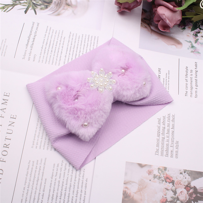 Fashion faux-fur bow baby headband new design solid colors elastic kids headband with pearls popular