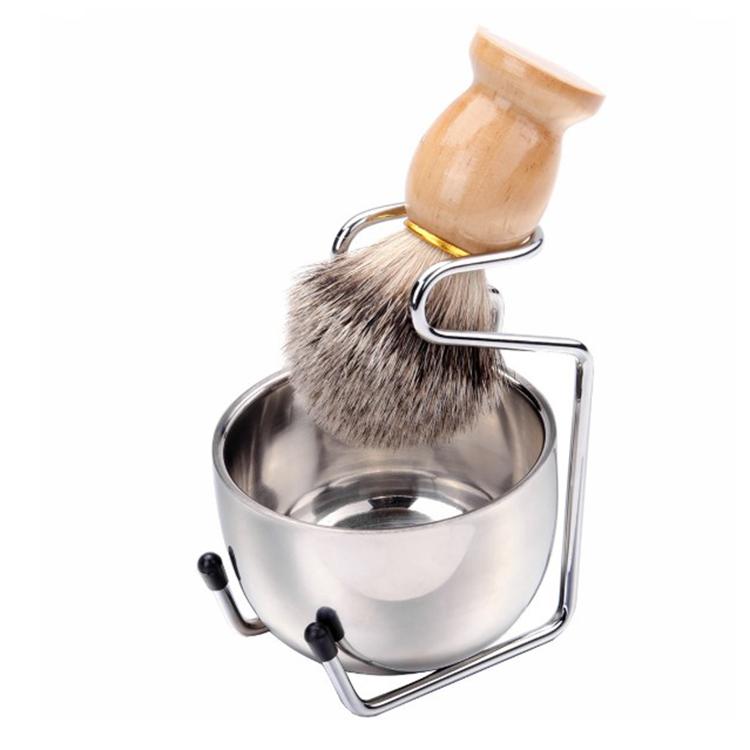 Material de Aço Inoxidável luxo Nó De Barbear Tigela Escova Kit Set Para Os Homens Com Suporte