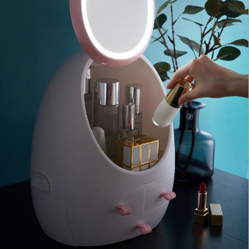 Ha Condotto La Luce Specchio Hd Cassetto Tipo Portatile Desktop di Prodotti per La Cura Della Pelle a Prova di Polvere Cosmetico Organizzare Scatola di Immagazzinaggio di Trucco