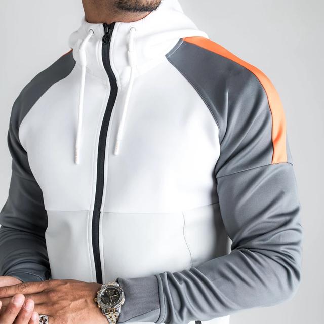 ผู้ชายลำลองFull Zipวิ่งกีฬาเสื้อและกางเกงชุดขายส่ง