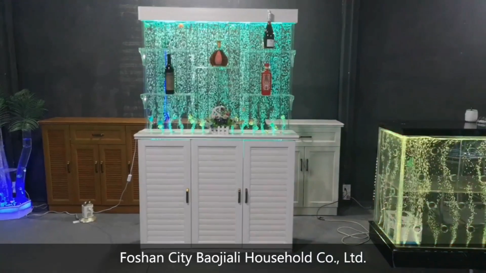 double sided shelves and aluminum alloy base cabinet LED living room storage cabinets with aquarium backdrop