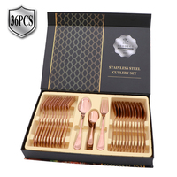 36 PCS Copper Cutlery Set Wholesale Brass Stainless Steel Kitchen Cutlery Rose Gold Set