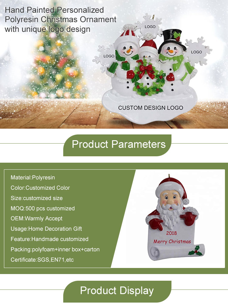 Cute Small Wholesale Personalized Figurines Polyresin Craft Christmas Ornaments