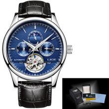 Мужские часы LIGE, мужские часы, лучший бренд, Роскошные автоматические механические часы, мужские кожаные водонепроницаемые часы, часы на не...(Китай)