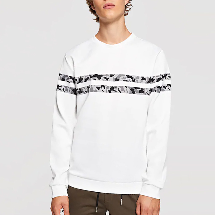 Online shopping usa männer camo striped crew neck sweatshirt