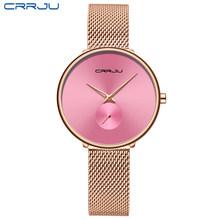 CRRJU женские часы 2019 роскошные женские часы модные минималистичные водонепроницаемые тонкие часы для женщин Reloj Mujer(Китай)