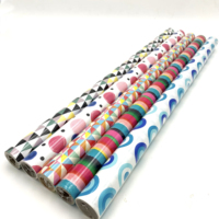 eco friendly recycled glossy color pattern gift wrap paper