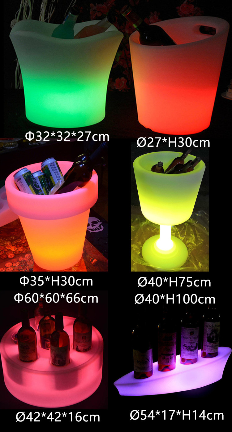 Waterproof illuminated floating Champagne Boat Shaped Serving Tray Light Ice Bucket for pool party