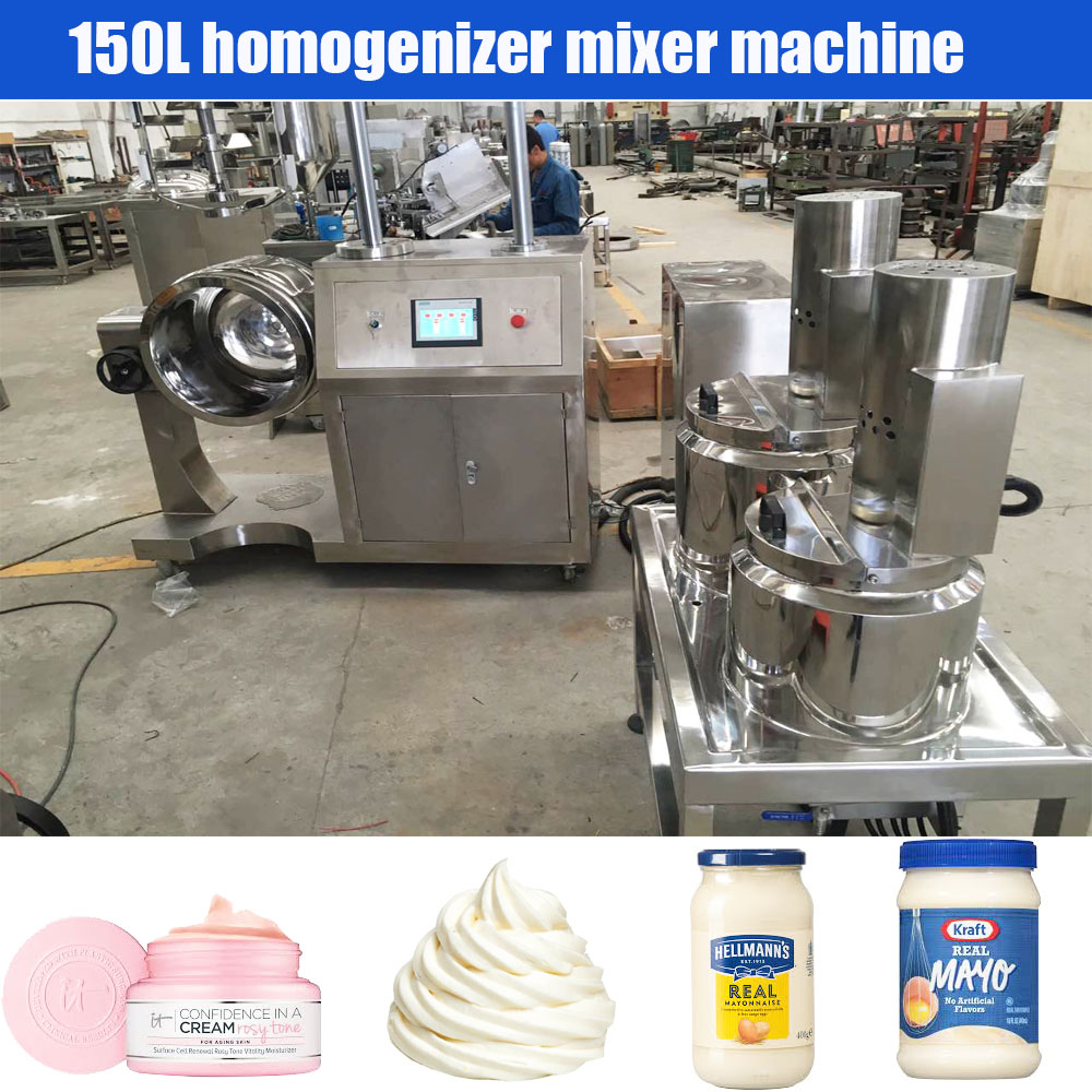 200L High speed vacuum mayonnaise toothpaste homogenizer mixer machine lotion emulsifier mixing machine