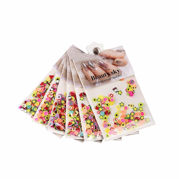 6 bags/set nail design goedkope groothandel nontoxic 3d fruit sticks nagels art slices gemengde vormen kleurrijke vruchten voor nagels