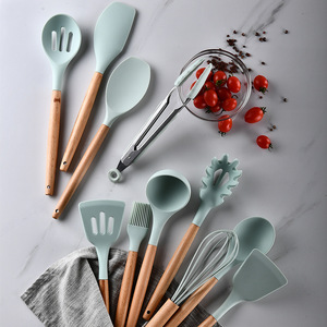 12PCS Silicone Cooking Utensils Set Non-stick Spatula Shovel Wooden Handle Cooking Tools Set With Storage Box Kitchen Tools