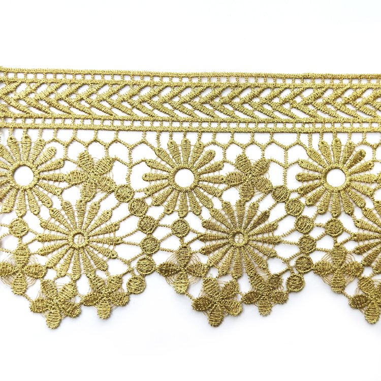 Wholesale gold metallic lace trim with high quality for garment accessories
