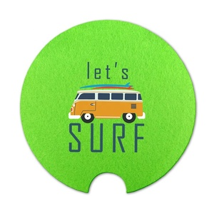 Newest sale attractive style reusable felt tgreen printed car felt table coaster sets