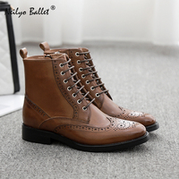 British style Pointed brogue Oxford dress leather Lace up booties women handmade Oxford leather ankle boots british style shoes