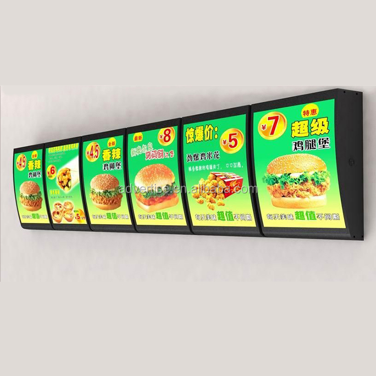 Custom Menu board Factory Curved Order price list LightBox restaurant wall mounted acrylic illuminated led menu light boxes