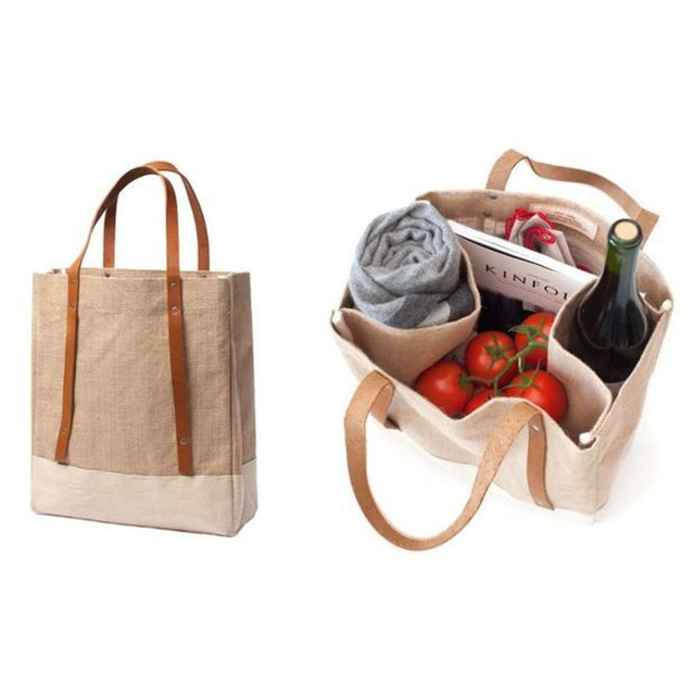 Manufacturer High-grade jute coated waterproof linen leather shopping red wine packing bag