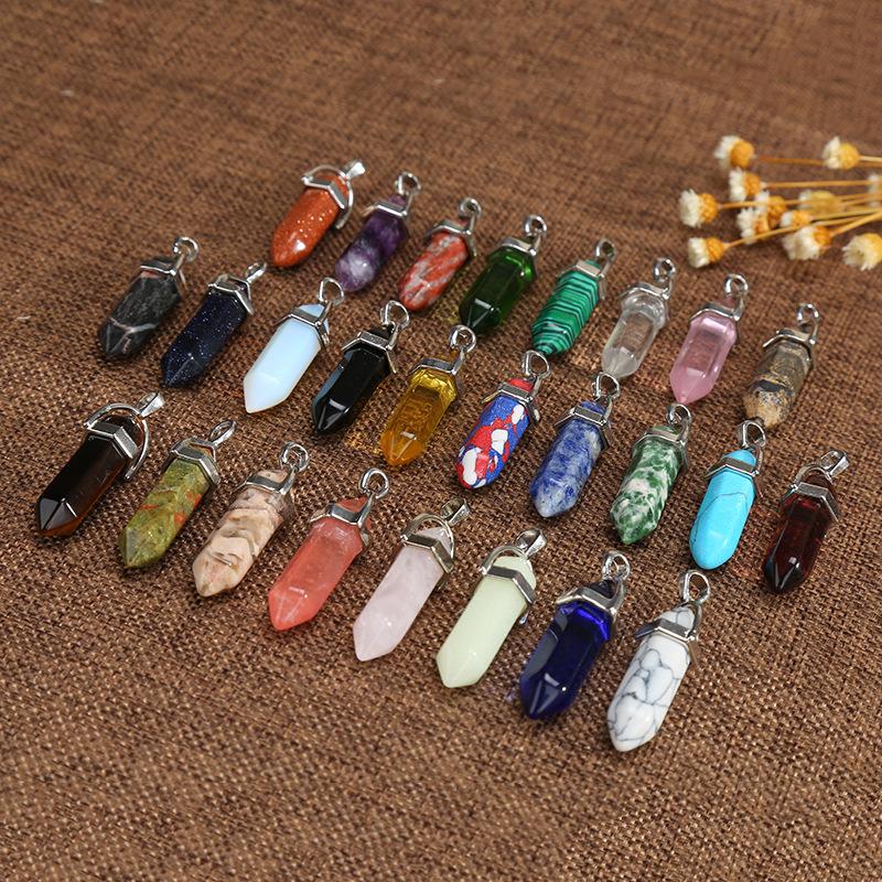 Factory Wholesale Custom Bullet New Fashion Crystal Healing Point Hexagonal Gemstone Quartz Pendant