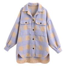 RR повседневные блузки с отложным воротником, женские модные свободные клетчатые рубашки с принтом, женские элегантные топы с длинными рука...(Китай)