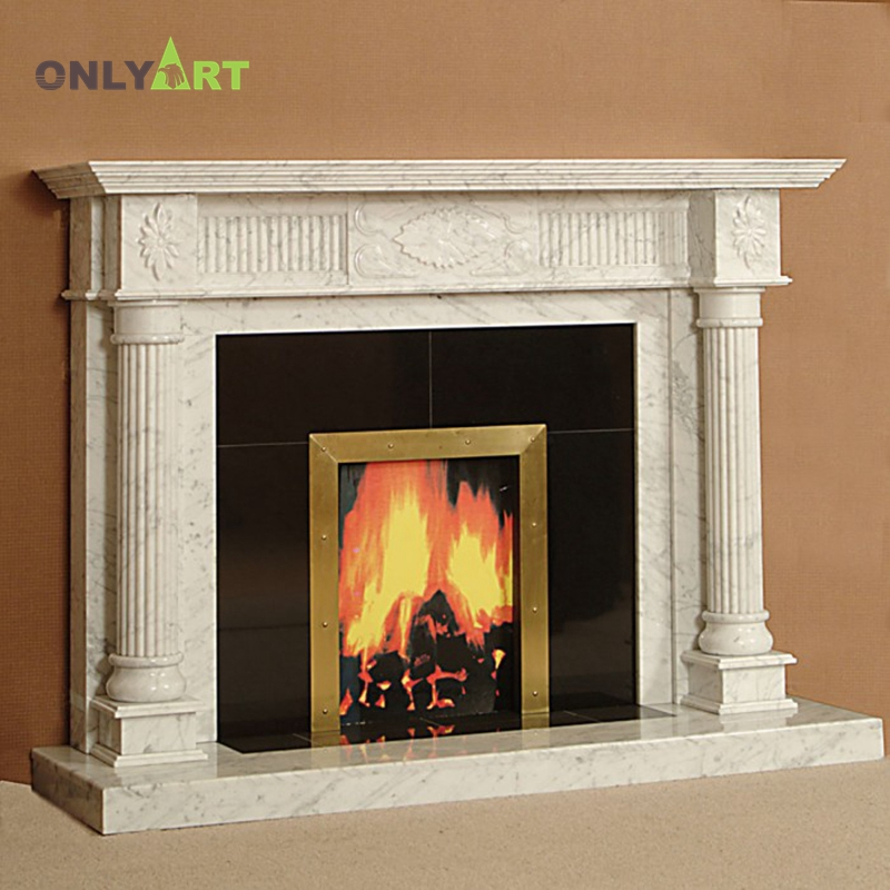 Hand Made Marble Fireplace Surround With Column