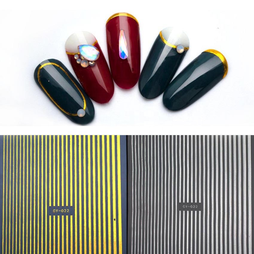 Hotsale Fantastic Gold Silver Rose Gold White Black Lines 3D Nail Art Adhesive Transfer Stickers Metal Multi-size Strip, Colorful