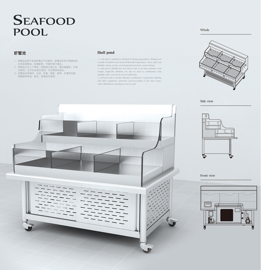 SMCN customized Ecological ECO 2 layer supermarket or restaurant chiller live STONE lobster snow crab fish seafood tank