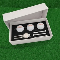 customized logo golf ball and divot repair tool and golf tee gift box set