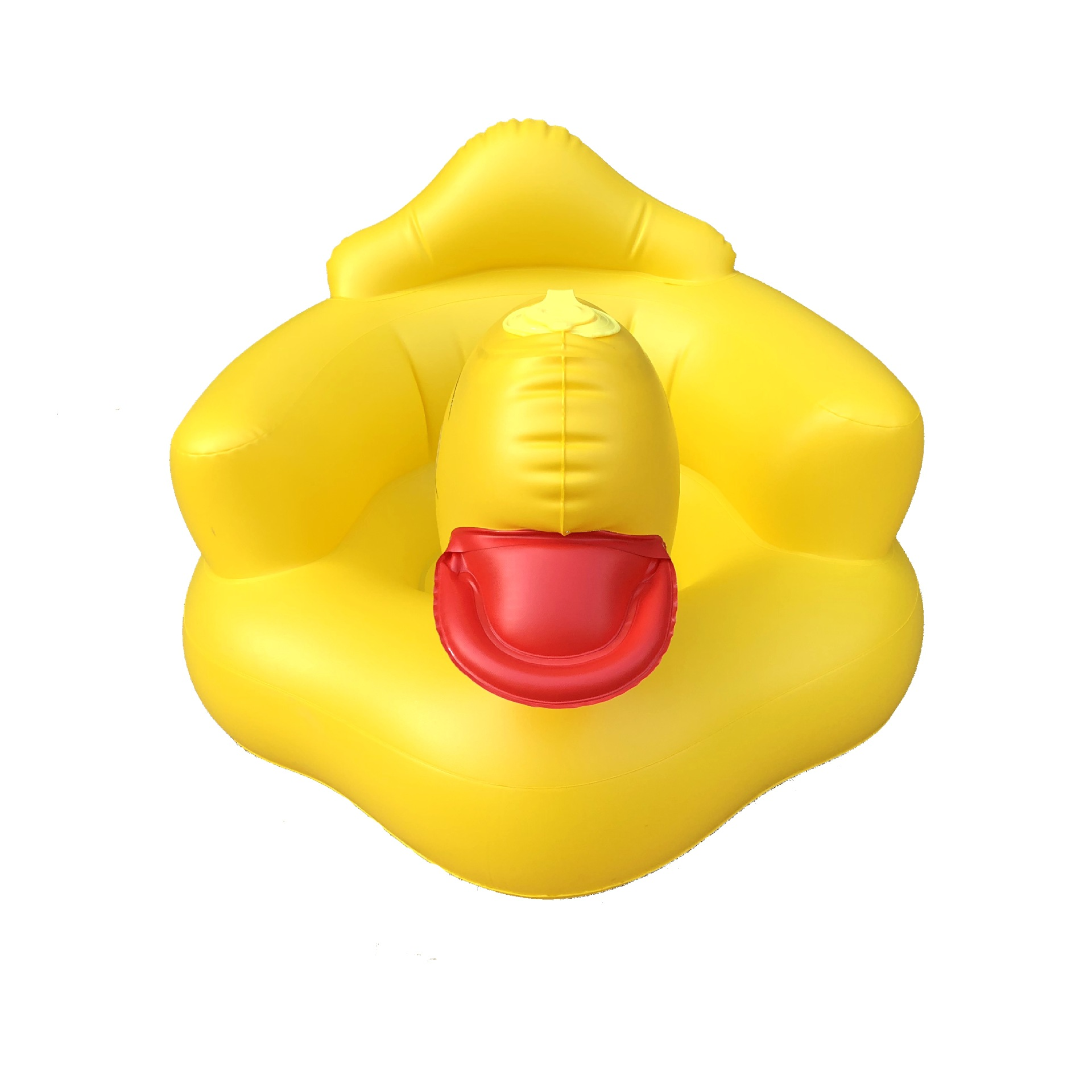 whholesale self inflating  kids bath stool  yellow duck inflatable baby sofa for bathroom