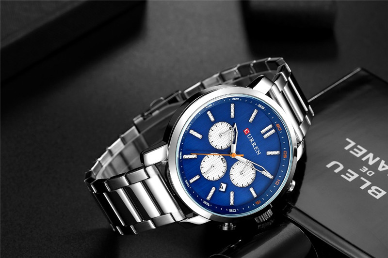 CURREN Casual Quartz Analog Men Watch Fashion Sport Wristwatch Chronograph Stainless Steel  Male Clock Relogio Masculino